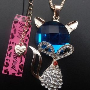 BJ Clear Blue Crystal Fox Pendant Necklace